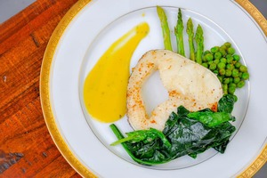 Eat with locals: Gourmet preparation- pan fried cod served with mango sauce and stewed ...