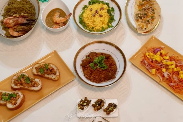 Progresive indian cuisine- elaborate  set menu for 4 (fine dining); fr...
