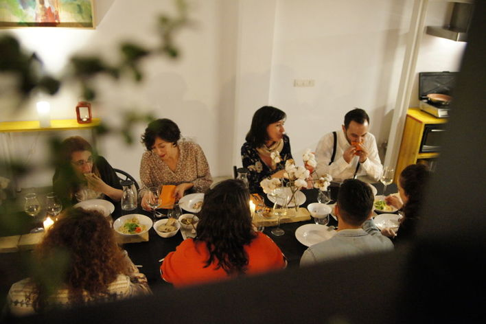 Mediterranean social meal at a chef's house