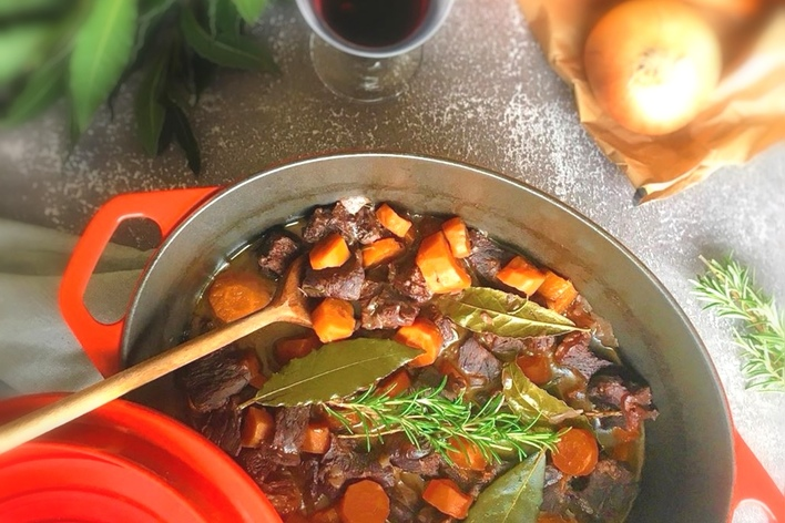 Bourguignon beef with .. a burgundy man