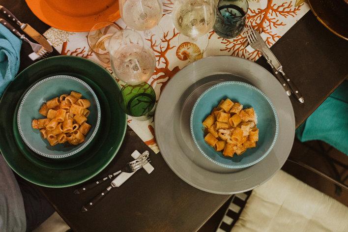 Dining in a roman terrace sea food menu