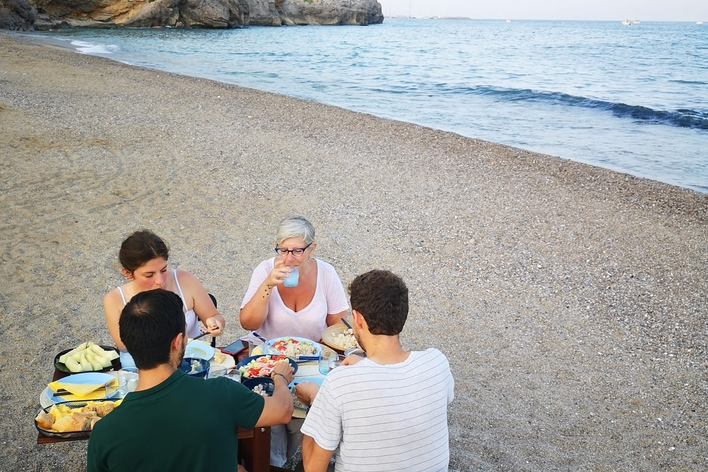 Seafood dinner on a calm beach